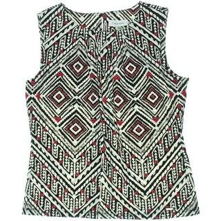 Calvin Klein Womens Petites Blouse Matte Jersey Printed