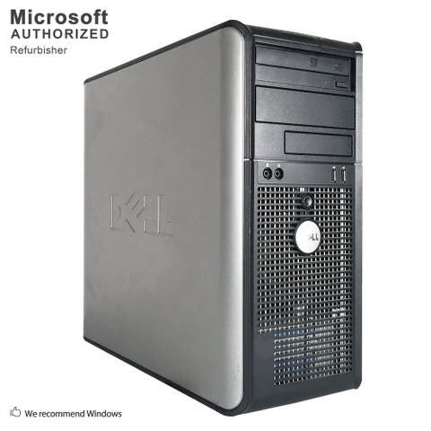 Dell OptiPlex GX780 Computer Tower Intel Core 2 Duo E8400 3.0G 8GB DDR3 2TB W10P64(EN/ES) 1 Year Warranty (Refurbished)-Silver