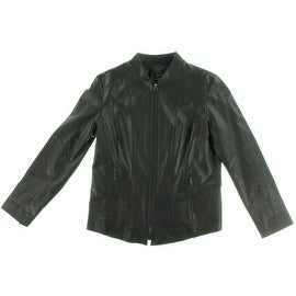 Danier Womens Leather Solid Motorcycle Jacket - XL