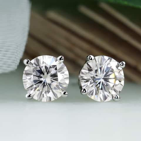 Auriya 2ct TW Round Moissanite Stud Earrings Platinum - 6.5 mm, Screw-Backs