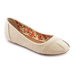Chinese Laundry All Done Women Round Toe Canvas Beige Flats