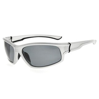 Eyekepper Sports Polycarbonate Polarized Sunglasses TR90 Unbreakable Silver Frame Grey Lens