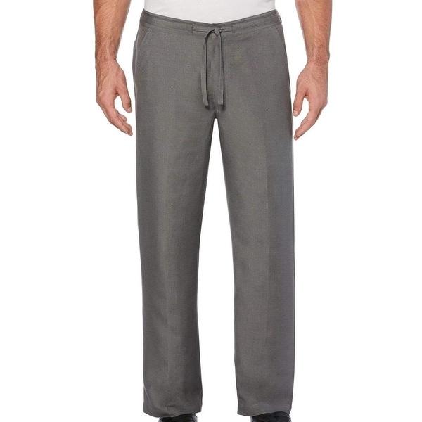 Cubavera Mens Pants Gray Size Large L Flat-Front Straight Leg Drawstring. Opens flyout.
