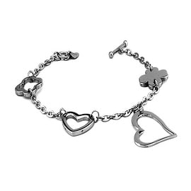 Stainless Steel Ladies Hearts and Clovers Charm Toggle Bracelet 7.25 Inches