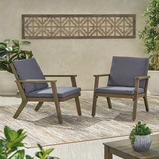 Link to Temecula Outdoor Acacia Wood Club Chairs with Cushions (Set of 2) by Christopher Knight Home Similar Items in Outdoor Sofas, Chairs & Sectionals