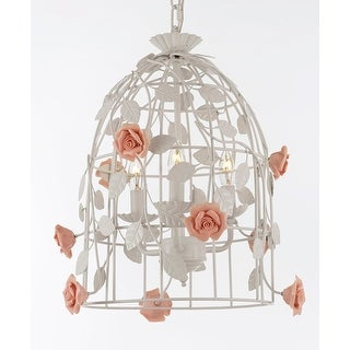 "Wrought Iron Floral ""Bird Cage"" Flower Chandelier Lighting Pendant- Perfect for Kids' and Girls Bedrooms!"