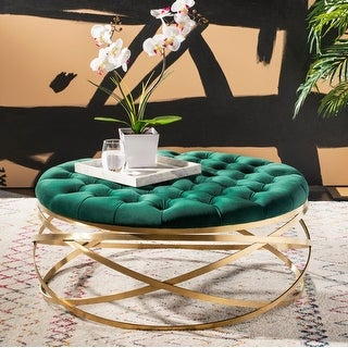 Link to Safavieh Couture Rumi Tufted Velvet Ottoman- Emerald / Gold Similar Items in Ottomans & Storage Ottomans