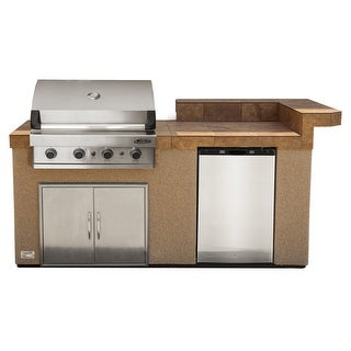 Cal Flame Natural Stone Stainless Steel 7 Foot 4 Burner