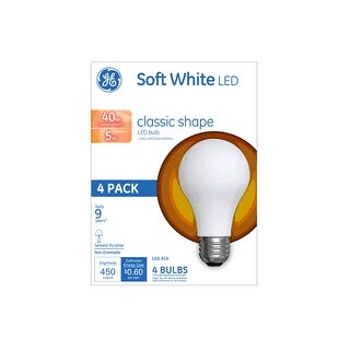 GE 99176 LED Classic Shape All Glass Light Bulb, Soft White, 5 Watts, 450 Lumens, Pack Of 4