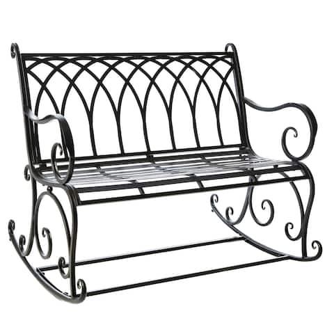 Black Rocking Garden Bench - 43.3x36.6x32.6