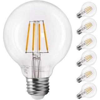 6 Pack LED G25 Dimmable Filament Light Bulb, Globe Edison Vintage Style, 2700K Soft White - Soft White