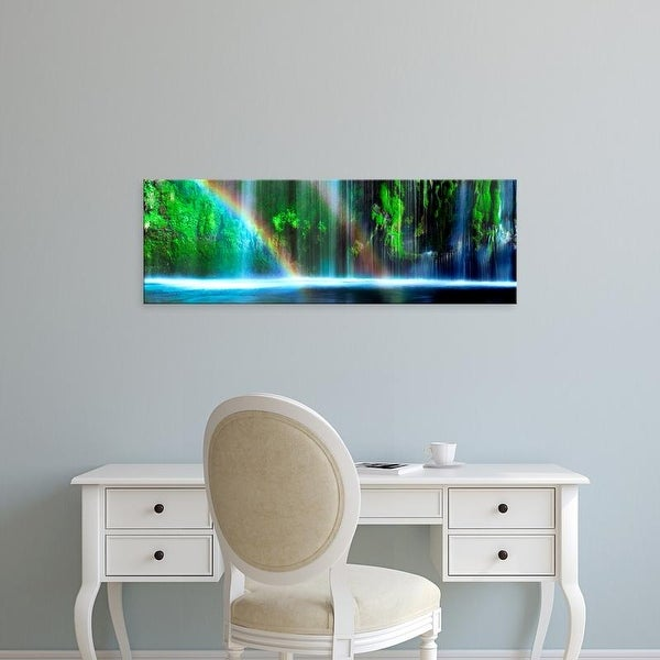 Easy Art Prints Panoramic Images's 'Rainbow with waterfall in a forest, Dunsmuir, Siskiyou, California' Canvas Art