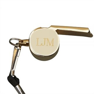 2.125 x 1in. Gold Plated Coachs Whistle with Lanyard - Gold