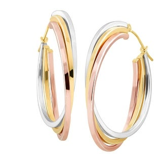 Stacked Three-Tone Hoop Earrings in 14K Yellow & Rose Gold-Bonded Sterling Silver