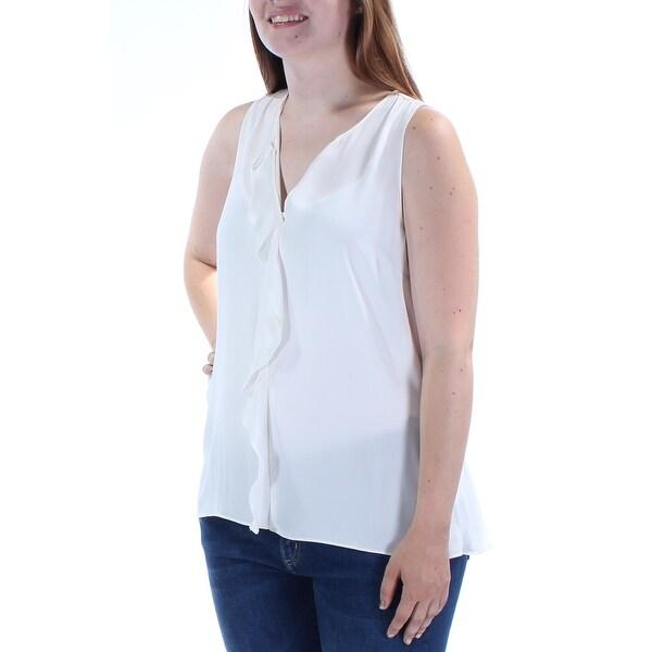 ecce79da88d MAISON JULES Womens Ivory Ruffled Sleeveless V Neck Top Size: L
