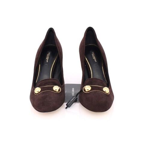 Dolce & Gabbana Brown Suede Block Heel Pumps Classic Shoes - 39