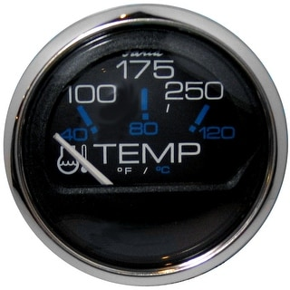 Faria Chesapeake Black SS 2 Water Temperature Gauge 100 250 176 F