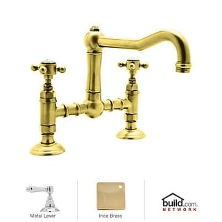 Rohl A1459LM-2 Country Kitchen Bridge Faucet with Metal Lever Handles