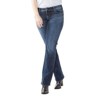 Silver Jeans Co. Womens Plus Suki Slim Bootcut Jeans Curvy Fit Indigo Wash