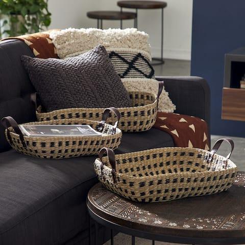 "Rectangular Seagrass Storage Baskets with Handles, 23"", 21"", 19"", Set of 3 - 23 x 18 x 7"