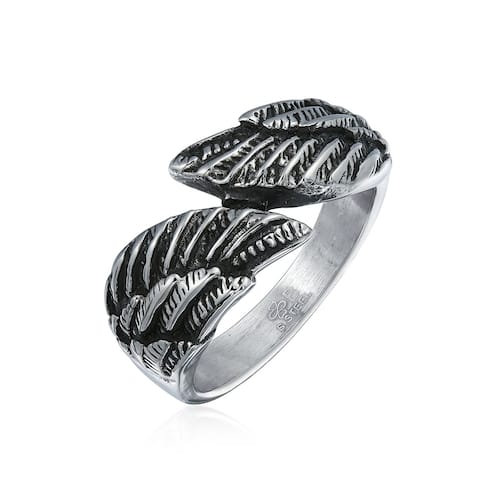 Spiritual Angel Wing Feather Bypass Band Ring Oxidized Stainless Steel