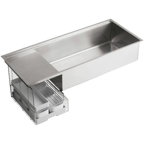 "Kohler K-3761 Stages 45"" Single Basin Under-Mount 16-Gauge Stainless Steel Kitchen Sink with SilentShield"