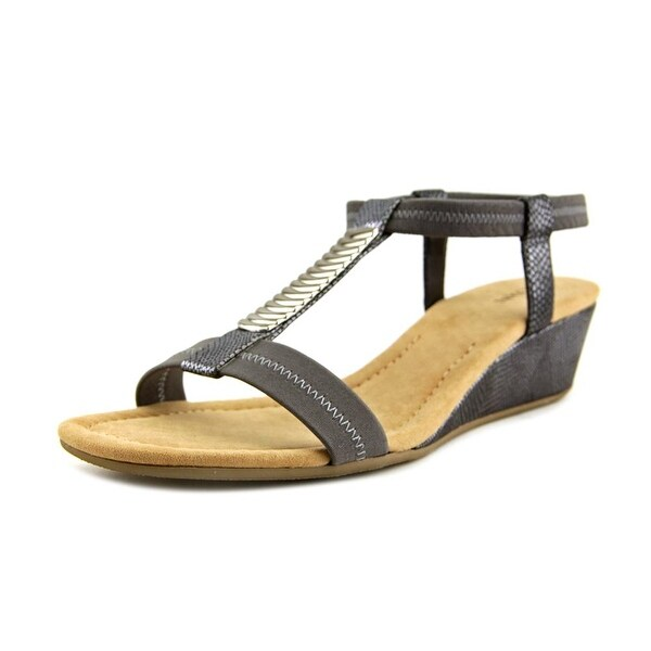 Alfani Vacay Women Open Toe Synthetic Gray Wedge Sandal