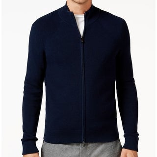 Michael Kors NEW Blue Navy Mens Size Large L Full Zip Ribbed Sweater