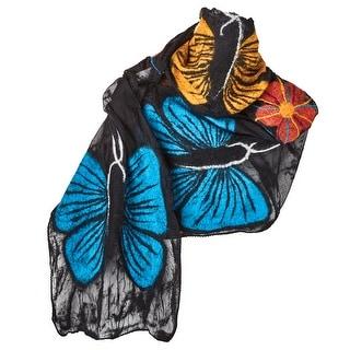 "Women's Fashion Scarf - Butterfly Garden Wrap - 76"" Long - Medium"