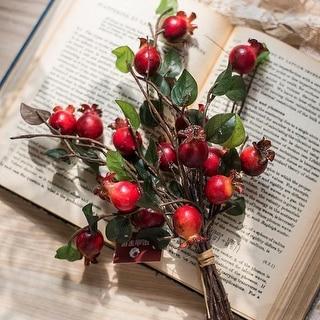 "RusticReach Artificial Pomegranate Fruit Bouquet 12"" Tall - Red"