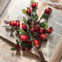 """G Home Collection Rustic Artificial Pomegranate Fruit Bouquet 12"""" Tall - Red"""