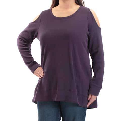 STYLE & CO Womens Purple Cut Out Long Sleeve Jewel Neck Top Plus Size: 1X