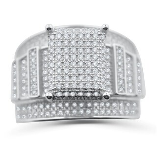 Extra Wide Wedding Ring 3 in 1 Style With Large Cluster Top Sterling Silver and CZ