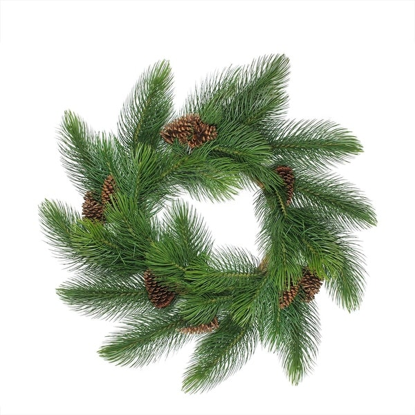"44"" Long Needle Pine Artificial Christmas Wreath with Pine Cones - Unlit - green"