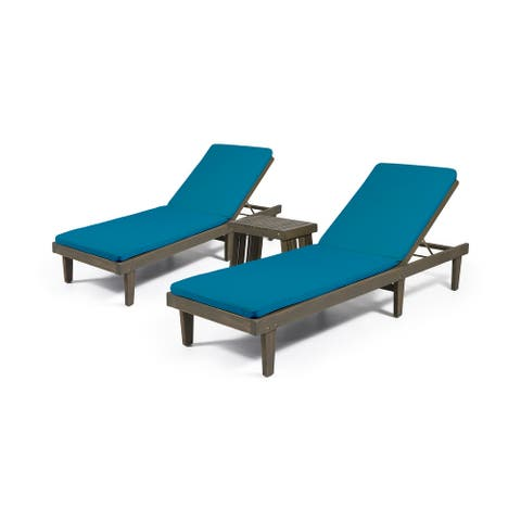 Nadine Outdoor Acacia Wood 3 Piece Chaise Lounge Set with Water-Resistant Cushions by Christopher Knight Home