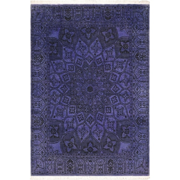 Overdyed Medallion Maryrose Purple Hand knotted Rug - 8'1 x 9'9 - 8 ft. 1 in. X 9 ft. 9 in.. Opens flyout.
