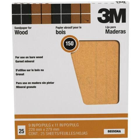 """3M 88595 Pro-Pak Garnet Sandpaper, 150 Grit, 9"""" x 11"""", 25-Count"""