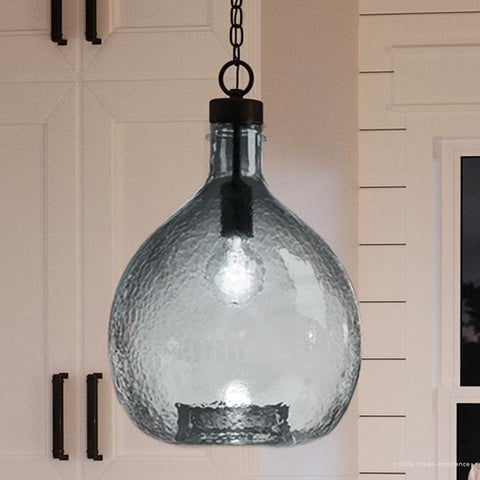 """Luxury Modern Farmhouse Pendant Light, 20.375""""H x 13""""W, with Mediterranean Style, Olde Bronze Finish by Urban Ambiance"""