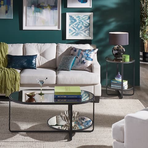 Naches Oval Cocktail Table and End Table with Antique Mirror Set by iNSPIRE Q Modern - End Table and Cocktail Table Set
