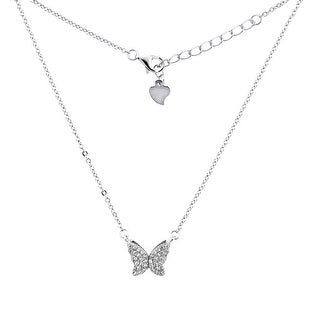 Sterling Silver Micro Pave Cubic Zirconia BUTTERFLY Necklace, 5/16 inch wide