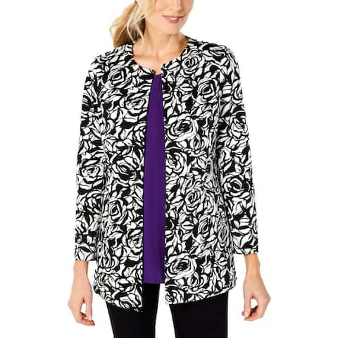 Kasper Women's Topper Jacket White Black Size 10 Floral Open Front