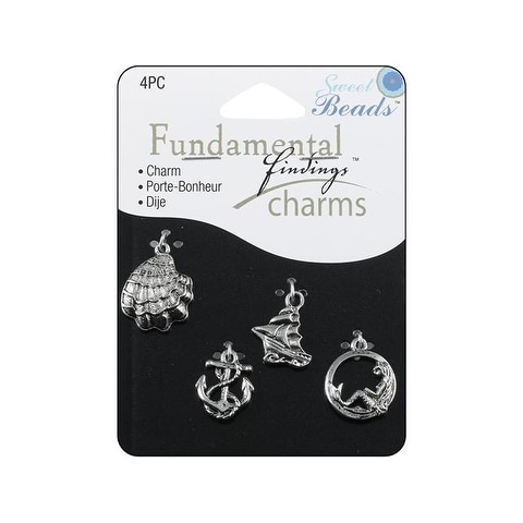 Sweet Beads Fund Find Charm Seashore Silver 4pc