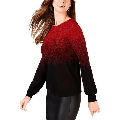 NY Collection Womens Petites Lurex Sweater Metallic Bishop Sleeves