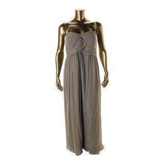 Donna Morgan Womens Plus Laura Silk Strapless Evening Dress