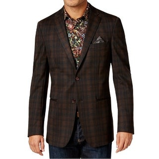 Tallia NEW Brown Mens Size 36 Two Button Notched Plaid Printed Blazer
