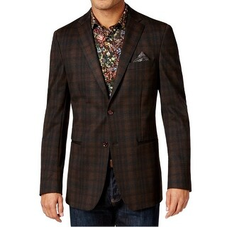 Tallia NEW Brown Mens Size 38 Two Button Printed Notched Blazer