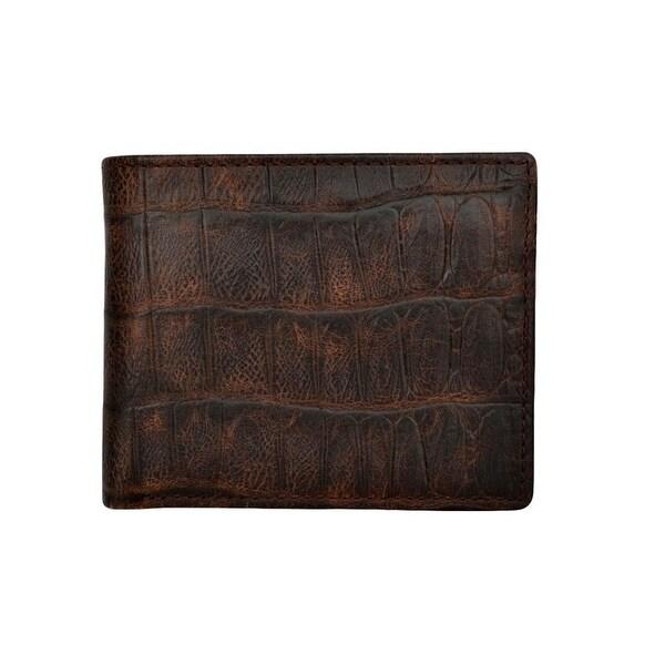 3D Western Wallet Mens Bifold Gator Print Leather Pockets Cognac - One size