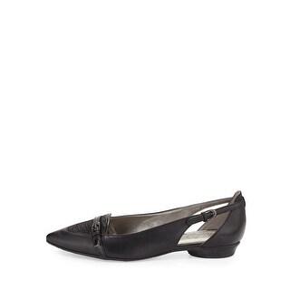 Circa Joan & David Womens Jantisa Leather Pointed Toe Slide Flats
