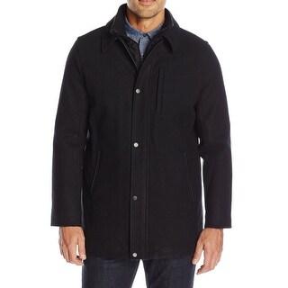Calvin Klein NEW Black Mens Size 2XL Wool Faux-Leather Trim Coat