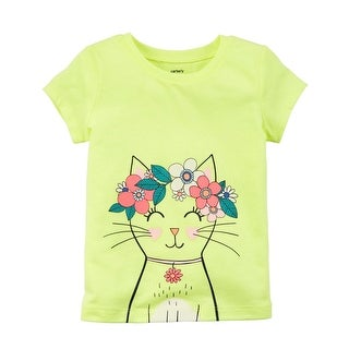 Carter's Little Girls' Neon Kitty Jersey Tee, Yellow, 4-Toddler
